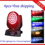 4pcs 36*18W RGBWAP 6in1 Led Moving Head Zoom Light Effect Light Free Shipping