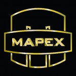 "Mapex Drums Saturn Mars logo 4.6"" X 4.125"" Gold logo sticker for bass drumhead"