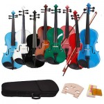 8 Colors 4/4 Basswood Acoustic Violin  w/ Case Rosion Bow Bridge Halloween Gift