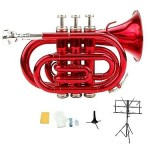 Merano New Bb Red Brass Pocket Trumpet,Case+Free Valve Oil, 2 Stands
