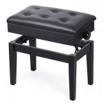 Black Piano Bench PU Leather Storage Adjustable Height Padded Seat Keyboard