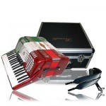 Rossetti 34x60 Piano Accordion, 5 Switch w/ Case, Straps & 3460 RED/WHITE/GREEN