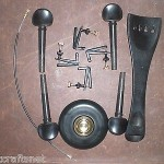 1 set of EBONY Cello fitting 4/4 & 4 Tuners & tail gut, End pin stopper