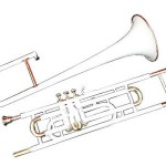 TROMBONE-VALVE-BB_PITCH-Beginner-COME-WITH-MP-HARD^CASE WHITE PAINTED BRASS
