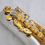 professional Silver Gold Tenor Saxophone sax High F# FREE Metal Mouthpiece +Case