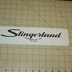 "SLINGERLAND DRUMS.  3""x12"" metal sign..free shipping in the USA"
