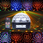 RGBYWV Auto LED Crystal Mini Magic MP3 Ball Stage Light SD Card IR Remote Disco