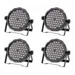 4x 54W 8 Channel RGBW LED Flat Par Light for Club Bar DJ Stage Party DMX Control