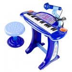 New Kids Boys Blue Piano Musical Toy Keyboard Microphone Organ Karaoke Children