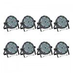 8x 54W 8 Channel RGBW LED Flat Par Light for Club Bar DJ Stage Party DMX Control