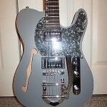 PEARL GRAY THINLINE BIGSBY TELE STYLE GUITAR WITH DELUXE GIG BAG, STRAP & MORE