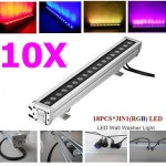 10pcs 18x3w rgb 3 in 1 waterproof high power led flood wall wash light outdoor