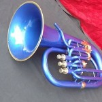 EUPHONIUM BB BLUE COLORED NICE W/CASE+MP SUPERB SOUND TUBA-SOUSAPHONE INDIA AWSM