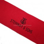 Steinway Piano Key Cover - Red Felt with Black Embroidered Keyboard Cover
