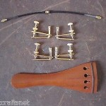 1 PC JUJUBE Violin Tail Piece 4/4 with 1 tail gut & 4 PCs tuner(GOLD color 02#)