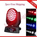 2pcs 36*18W RGBWAP 6 in 1 Led Moving Head Zoom Wash Flight Case Free Shipping