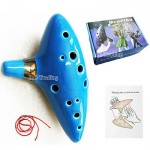 Legend of Zelda 12 Hole Sky Blue Ocarina of Time Ceramic Alto C Flute & Gift Box