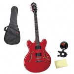 Oscar Schmidt OE30CH Electric Guitar Bundle with Gig Bag, Tuner, and Cloth